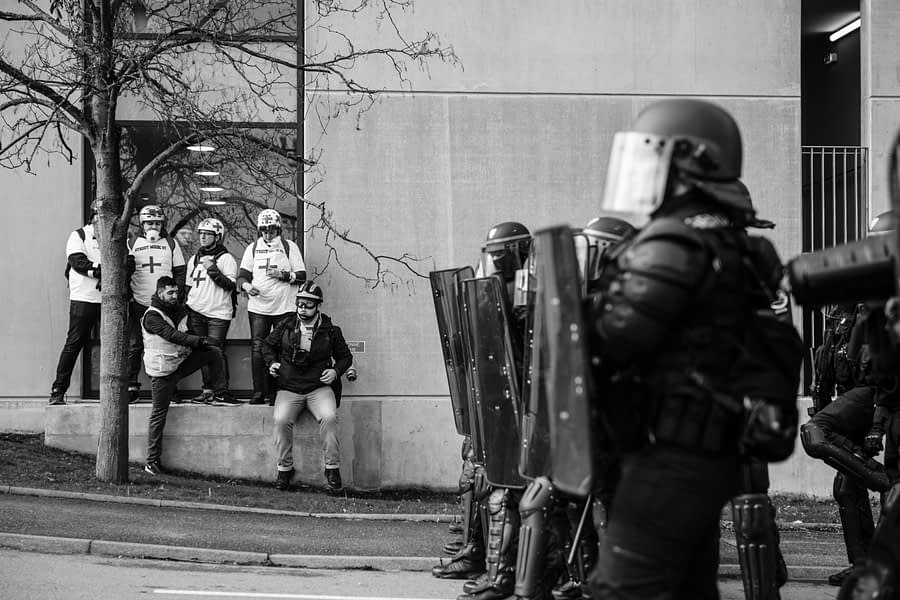 View of armed police