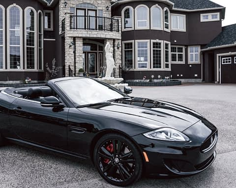 Exotic sportcar in the driveway of a mansion
