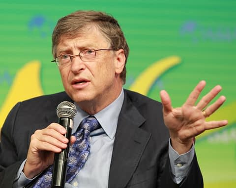 Picture of Bill Gates speaking on a microphone