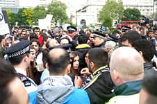 Protesters in conflict with police